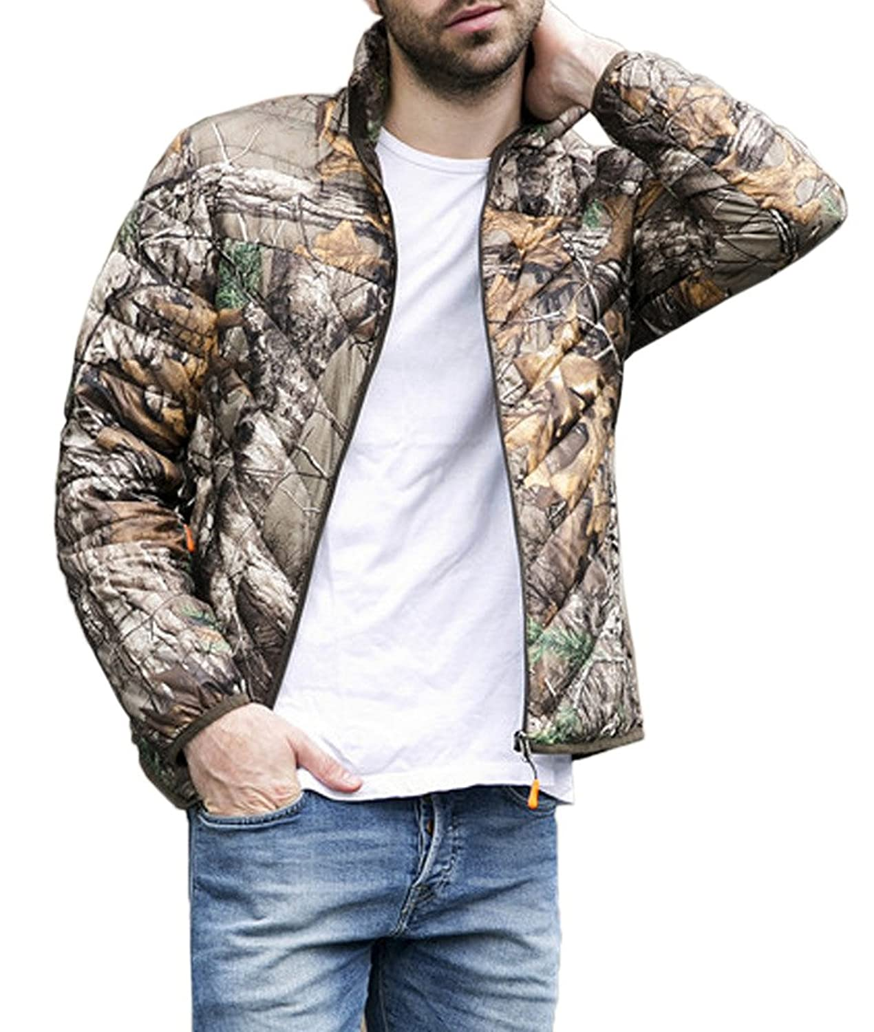 Bigood Men's Ultralight 90% Duck Down Coat Camouflage Parka Puffer Jacket