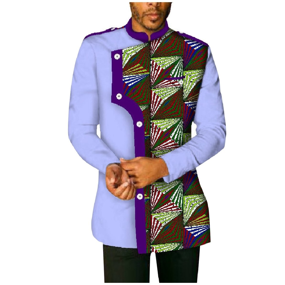YUNY Mens Plus-Size Cotton African Printed Long-Sleeve Western Shirt Purple 2XL