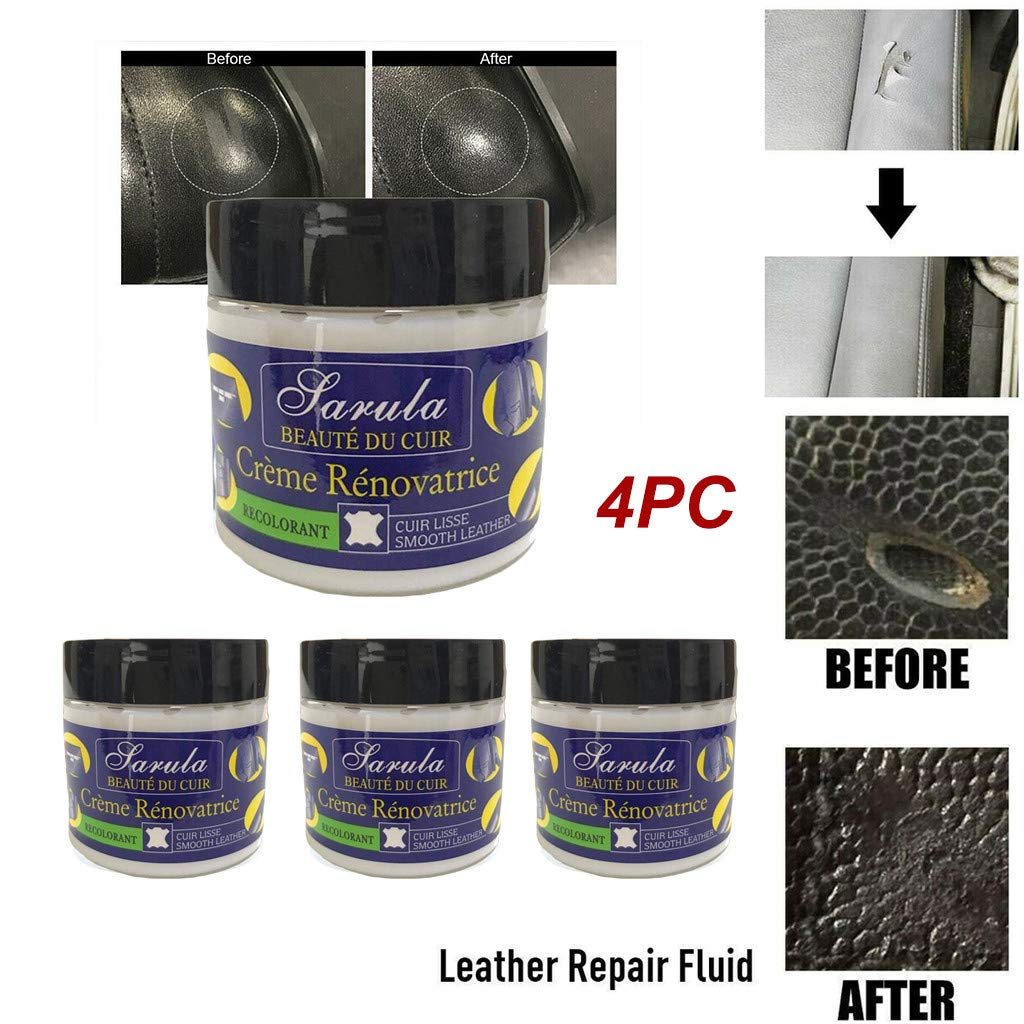 4pcs Powerful Effective Leather Repair Cream, Cleaning Conditioning and Protects Smooth Finished Leather Surfaces - Repairs Filled Leather Small Cracks Burns and Holes (Blue)