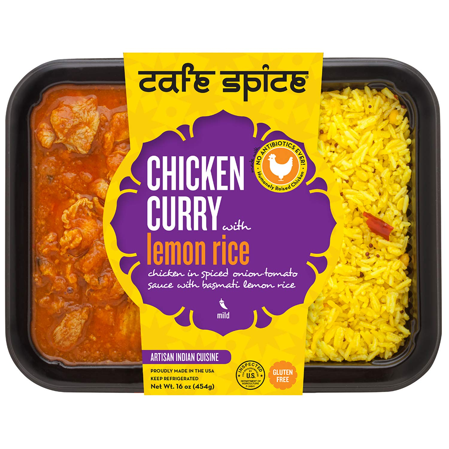 Café Spice Chicken Curry with Lemon Rice, Indian Meal, 16 oz
