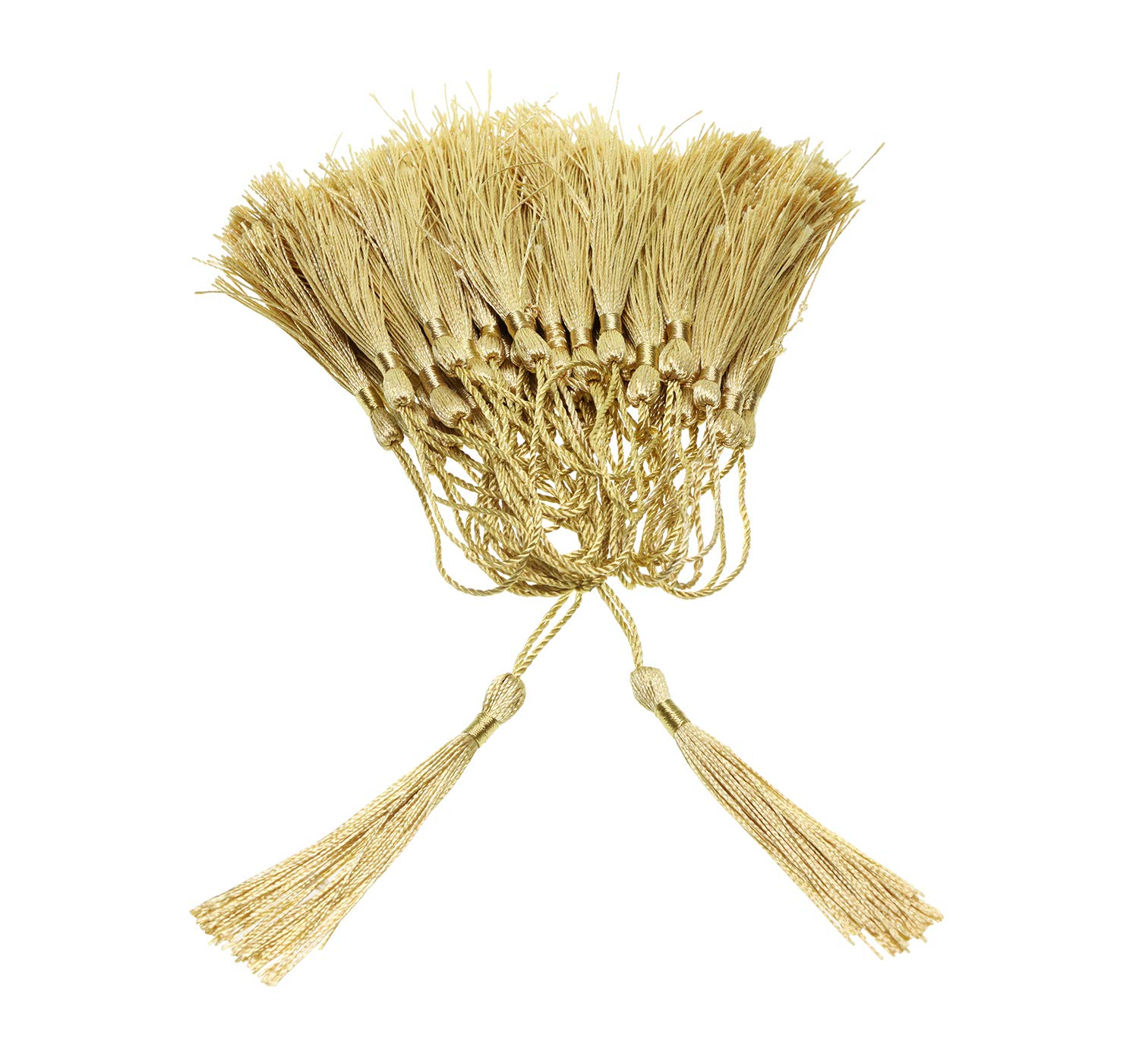 Gift Tag DIY Craft Projects,/20PCS Graduation Souvenir Tupalizy Mini Silky/Handmade Soft/Flossy Bookmark Tassels with Cord Loop for Keychain Earring Jewelry Making Clothing Sewing Light Gold