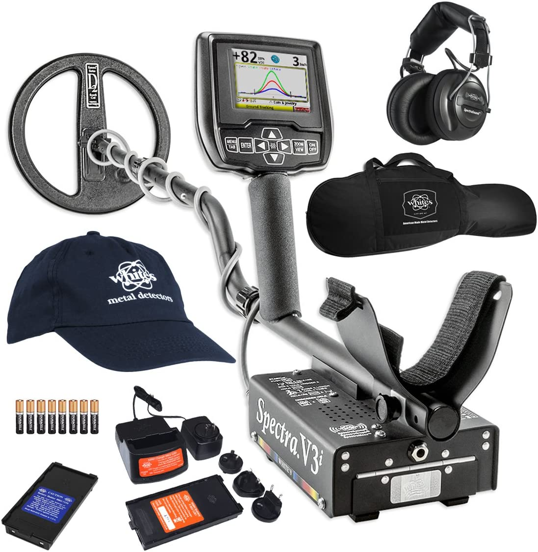 White's Spectra V3i HP Metal Detector with Padded Gun Style Carry Bag and Baseball Cap - 800-0329-HP