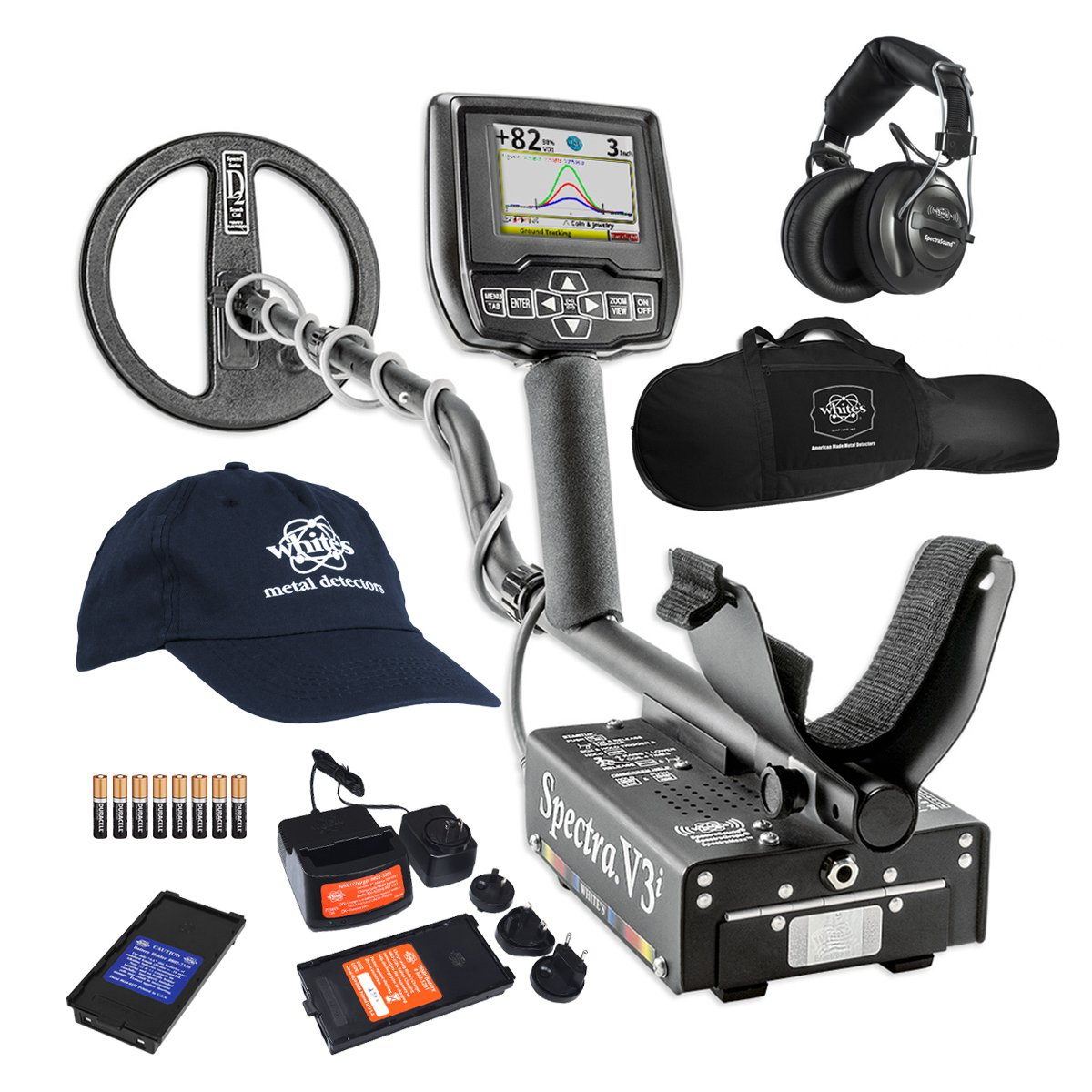 White s Spectra V3i HP Metal Detector with Padded Gun Style Carry Bag and Baseball Cap – 800-0329-HP