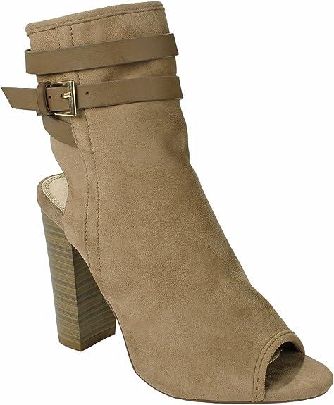 Womens Faux Suede Slouchy Peep Toe Block Heel Ankle Boot Bootie Light Blue