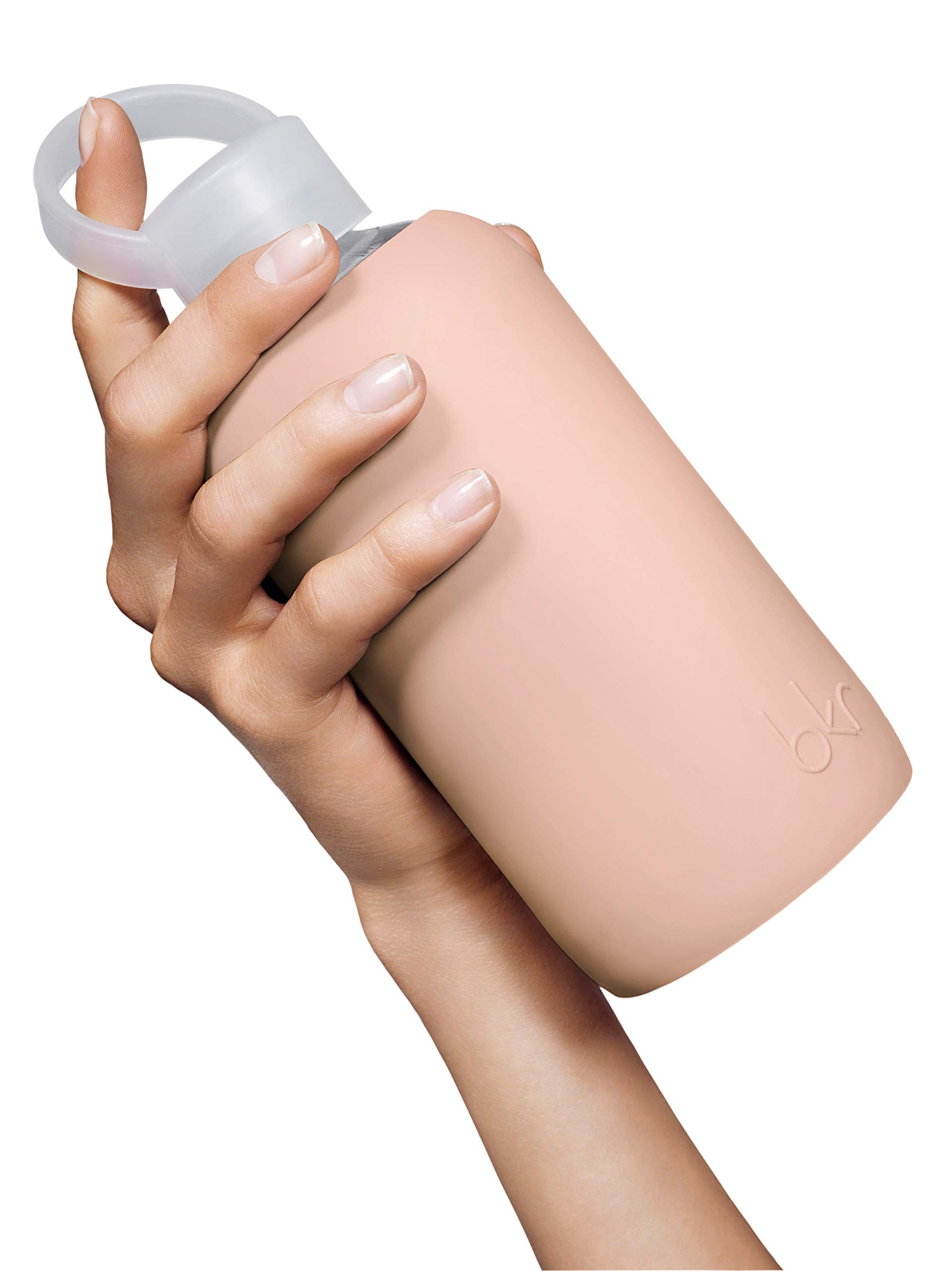bkr BPA-Free Silicone Sleeve Glass Water Bottle, 16oz / 500 ml - Naked - Opaque Light Chocolate Milk Nude by bkr (Image #5)