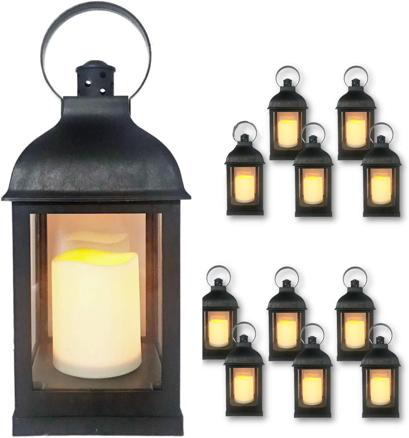 """Just In Time For Winter {12 Pc Set} 10"""" Decorative Lanterns with Flameless LED Lighted Candle, 5 Hr Timer, Antique Look Indoor Outdoor Home, Garden, Weddings - Includes 1 Bonus String Lights! Black."""
