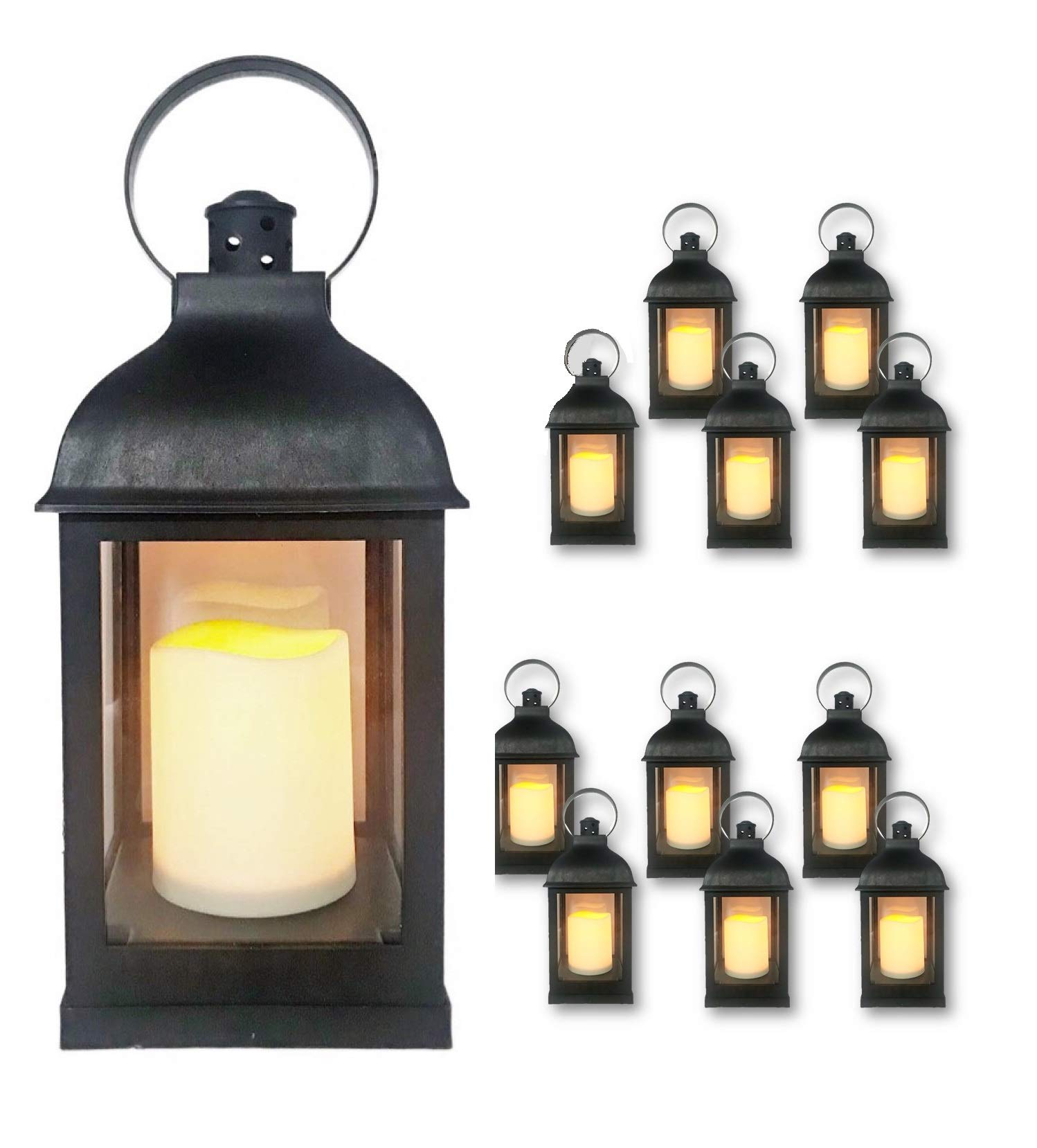 Just In Time For Winter {12 Pc Set} 10'' Decorative Lanterns with Flameless LED Lighted Candle, 5 Hr Timer, Antique Look Indoor Outdoor Home, Garden, Weddings - Includes 1 Bonus String Lights! Black. by THE NIFTY NOOK
