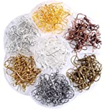 Heirtronic 126 Pcs Earring Hooks Ear Wires French Hooks Stainless Steel Fish Hooks with Storage Case for DIY Jewelry Making