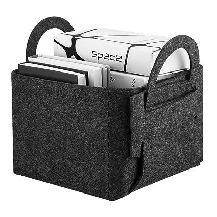 Mr.do® Cesta de fieltro Canasta de almacenamiento con asa Canasta de estante gris