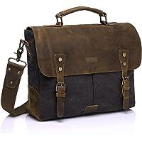 Vaschy Casual Genuine Leather Canvas Messenger Bag 14-15.6 inch Laptop Shoulder Bag Bookbag