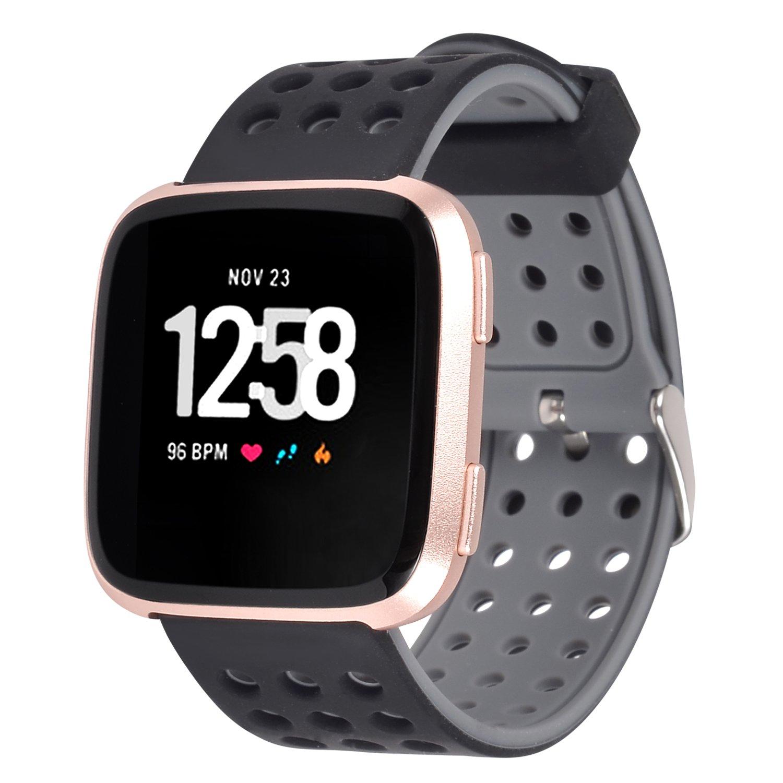 Lwsengme Fitbit Versa帯、2018新しいソフトシリコンスポーツストラップwith Air穴レディースメンズSmall Large Classic Accessory Band for Fitbit Fitbit Versa Versa Smart Watch Fitness B07C8J69V6 ブラック/グレー