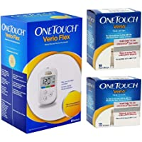 OneTouch Verio Flex Blood Glucose Monitor with Box of 20 Test Strips (Multi Color)