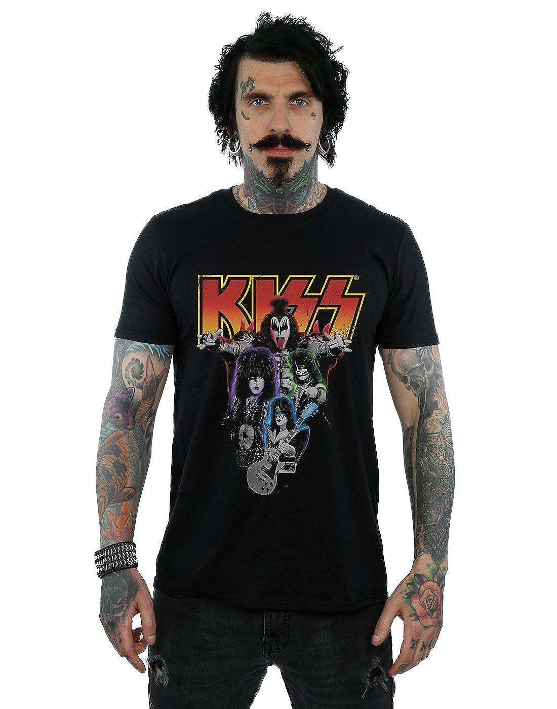 Kiss Herren Neon Band T-Shirt Absolute Cult