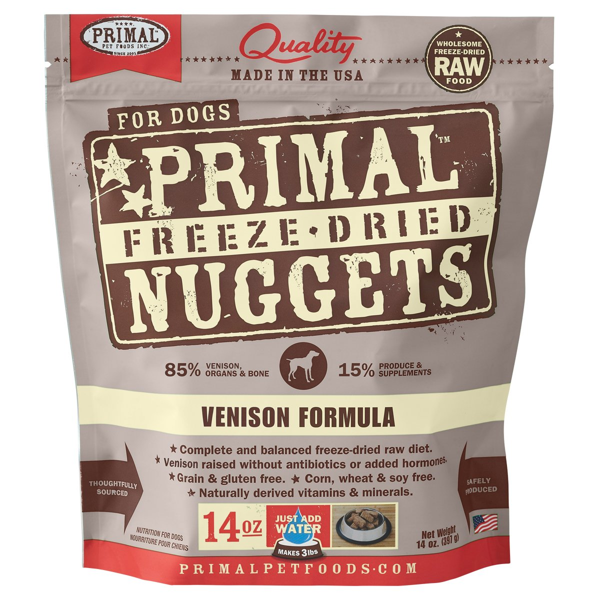 5. Primal Venison Nuggets Grain-Free Raw Freeze-Dried Dog Food