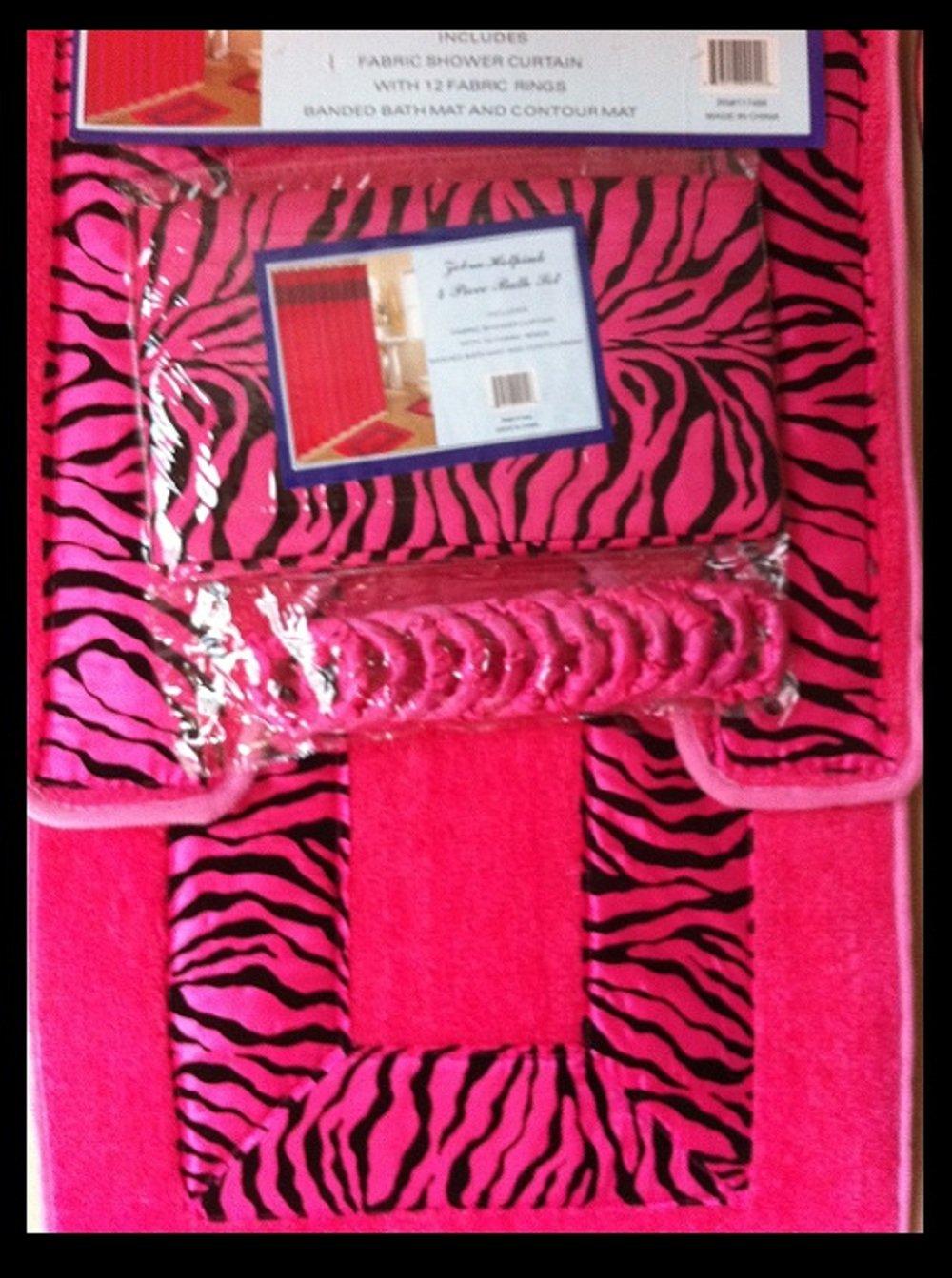 Amazoncom Piece Bath Rug Set Piece Pink Zebra Bathroom Rugs - Zebra bath mat for bathroom decorating ideas