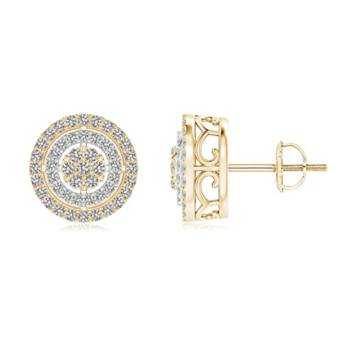 Angara Floating Diamond Cluster Halo Stud Earrings in Two Tone c75JbJ9zO