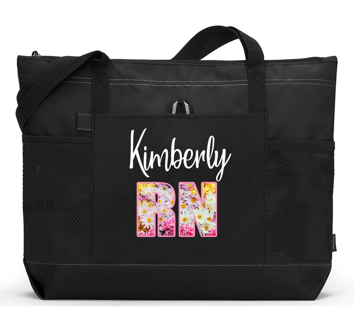 Personalized Nurse RN LPN CNA CMA Tote Bag with Mesh Pockets