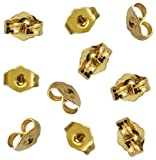 10pcs/5 Pairs 14K Yellow Gold Earring Backs Replacement Secure Ear Locking for Stud Earrings Ear Nut for Posts, 5x6mm