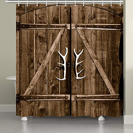 Amazon Com Jawo Barn Door Shower Curtain For Bathroom Wooden