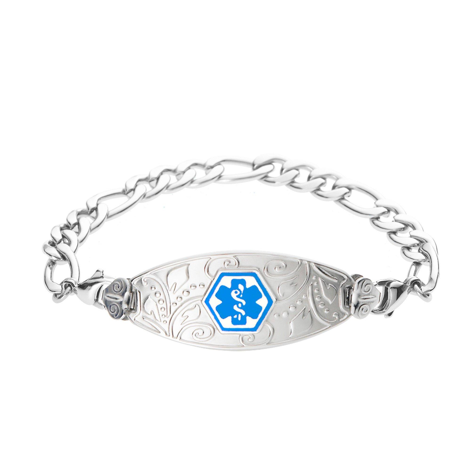 Divoti Deep Custom Laser Engraved Lovely Filigree Medical Alert Bracelet -Stainless Figaro-Light Blue-6.5''