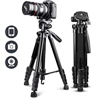 """UBeesize 67"""" Camera Tripod with Travel Bag, Cell Phone Tripod with Bluetooth Remote and Phone Holder, Compatible with…"""