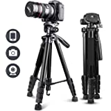 """UBeesize 67"""" Camera Tripod with Travel Bag, Cell Phone Tripod with Bluetooth Remote and Phone Holder, Compatible with All Cam"""