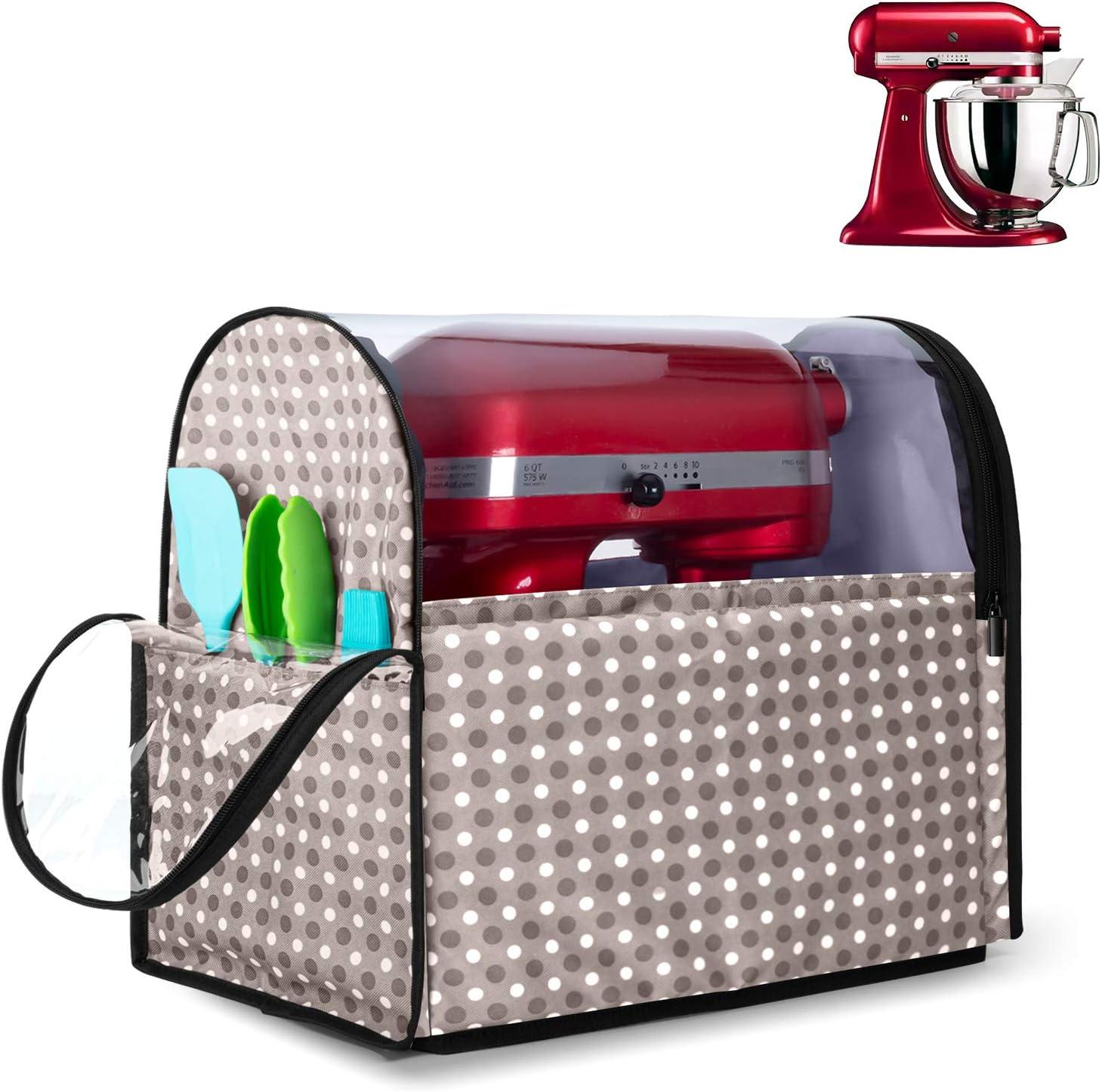Yarwo Cubierta para KitchenAid Robots de Cocina, Funda para Batidoras amasadoras, Cubierta Encaja para Todos los KitchenAid Robots de Cocina 4.3 y 4.8 litros, Punto Gris
