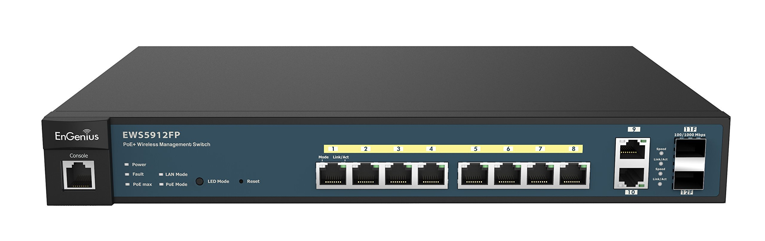 EnGenius  8 Gigabit 802.3at/af PoE+ Port Full Power Layer 2 Managed Switch, 2 SFP & 2 Uplink Ports, 130W PoE Budget  with Centralized Network Management [managed up to 50 EnGenius APs] (EWS5912FP)