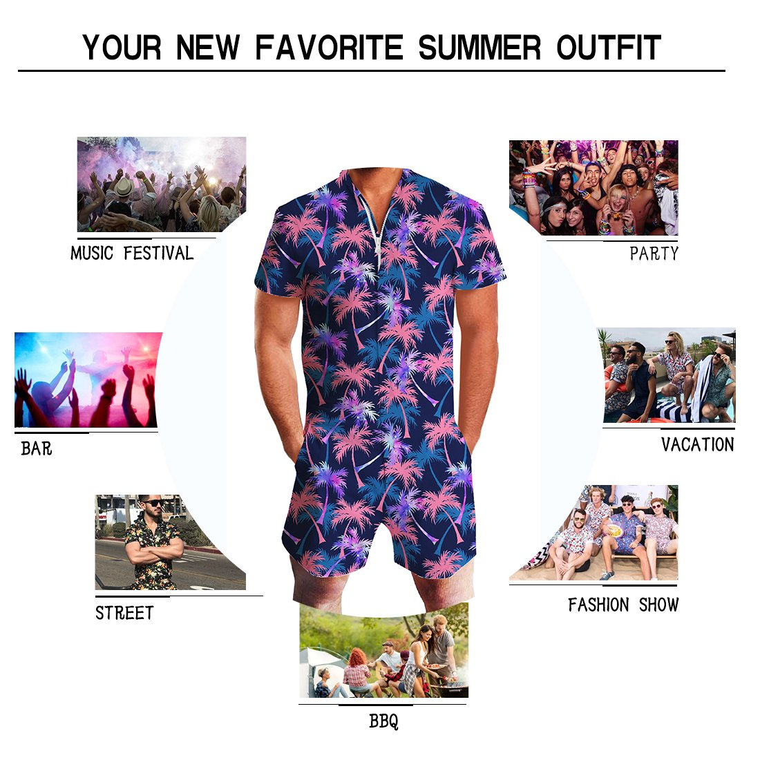 Goodstoworld Mens Jumpsuits 3D Tropical Leaves Print Zip up Romper Casual Grandad Shirt Cargo Shorts Overalls Playsuit for Men XXL by Goodstoworld (Image #2)