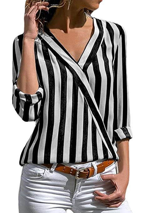 Dearlovers Womens Chiffon Blouse Long Sleeve Striped Loose Casual Blouses Tops