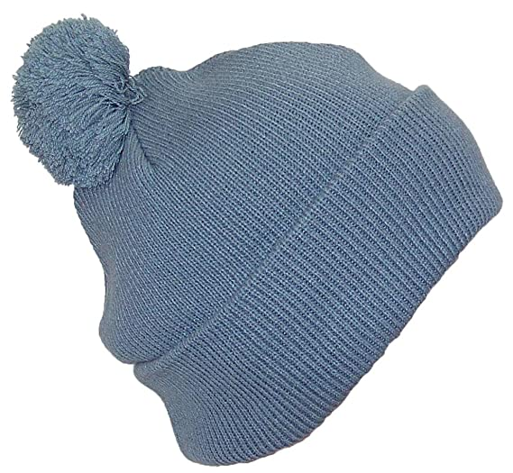 Best Winter Hats Quality Solid Color Cuffed Cap W Large Pom Pom (One  Size)(Fits Large Heads) - Gray at Amazon Men s Clothing store  3e5448b7bc2