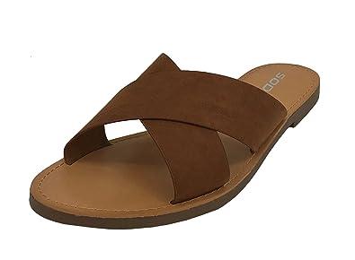 6e8eff814 SODA Womens Wide Cross Straps Flat Slip-on Sandal