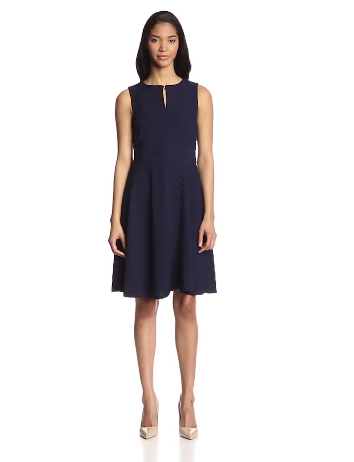 Taylor Dresses Women's Sleeveless Slit Neck Flare Dress