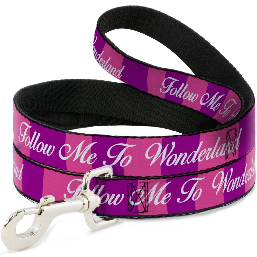 Buckle-Down DL-6FT-WDY335-W Pet Leash-Cheshire Cat Stripe Follow ME to Wonderland Pink Purple White, 6' L-1.5  W