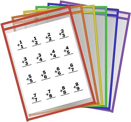 10pcs Amknn Dry Erase Sheet tasche scrivibile cancellabile foglio plastica riutilizzabile protettori ufficio Learning Classroom Organization Teaching Supplies Confezione