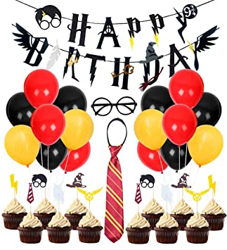 Kreatwow Decoración de cumpleaños de Wizard Party Supplies Fiesta de cumpleaños de Wizard Happy Birthday Banner Gafas Cupcake Toppers para Baby Shower