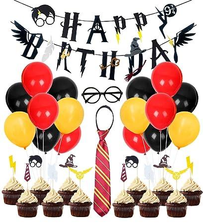 Kreatwow Decoración de cumpleaños de Wizard Party Supplies Fiesta de cumpleaños de Wizard Happy Birthday Banner Gafas Cupcake Toppers para Baby Shower