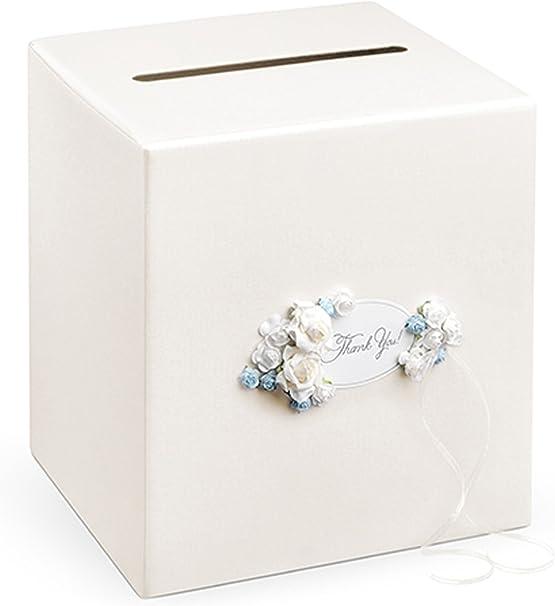 Decorativo boda caja de tarjeta caja de regalo para dinero con flores y texto Thank you lujo boda ceremonia decoración color Pearl 24 x 24 x 24 cm: Amazon.es: Hogar
