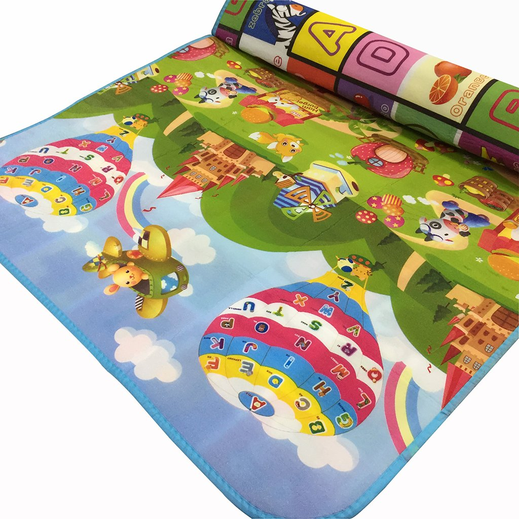 SIMPVALE alfombra de bebé espuma juego juguete actividades para bebé niño Age diseño Picnic Blanke dibujo alfabeto números animales 180x120x0.5 cm EEN03200GE!