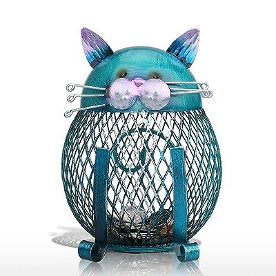 Tooarts Cat Coin Box Piggy Bank Animal Ornament Iron Art Handcrafts: Home & Kitchen