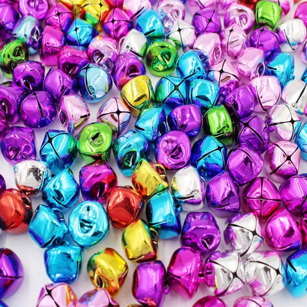 SUPVOX 100pcs Jingle Bell Colorful Small Bell Christmas Decoration Bell with Rope for Bracelet Necklace Jewelry Making Party Mixed Color
