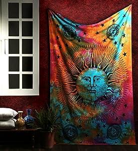 Marubhumi Psychedelic Sun Moon Stars Tie Dye Mandala Tapestry Hippie Hippy Celestial Wall Hanging Indian Trippy Bohemian Tapestries