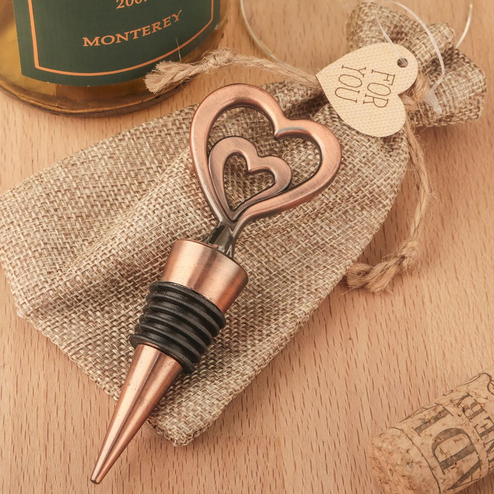48 Double Heart Bottle Stoppers in Antique Copper Finish