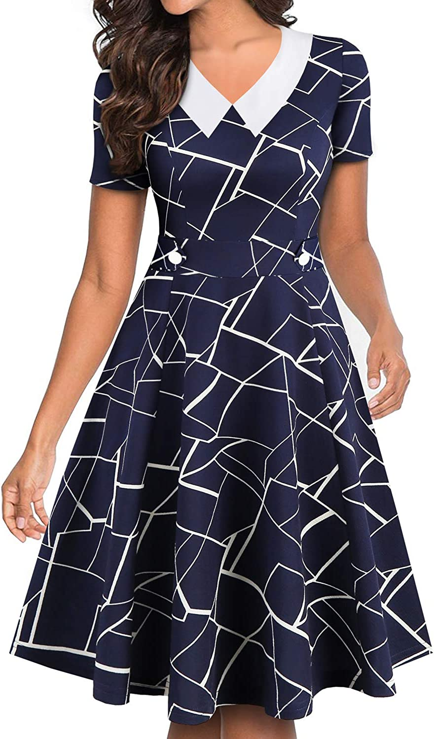 YATHON Women's Vintage Peter Pan Collar Fit and Flare A-Line Swing Work Casual Dresses