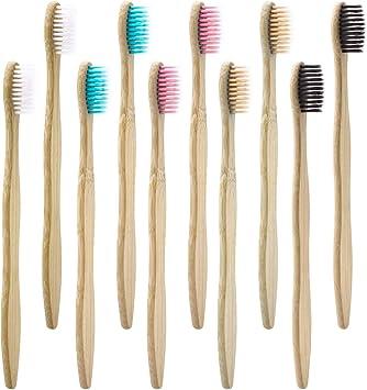 Cepillo de Dientes de Carbón de Bambú 10 PAQUETE - 5 Colores ...