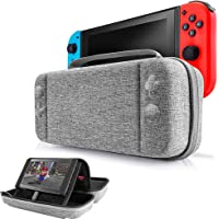 Portable Nintendo Switch Stand Storage Case, EFFE Protective Hardshell Travel Case Carrying Bag Cover with Handle & Stand Fit for Nintendo Switch Console, 12 Game Cards and Accessories