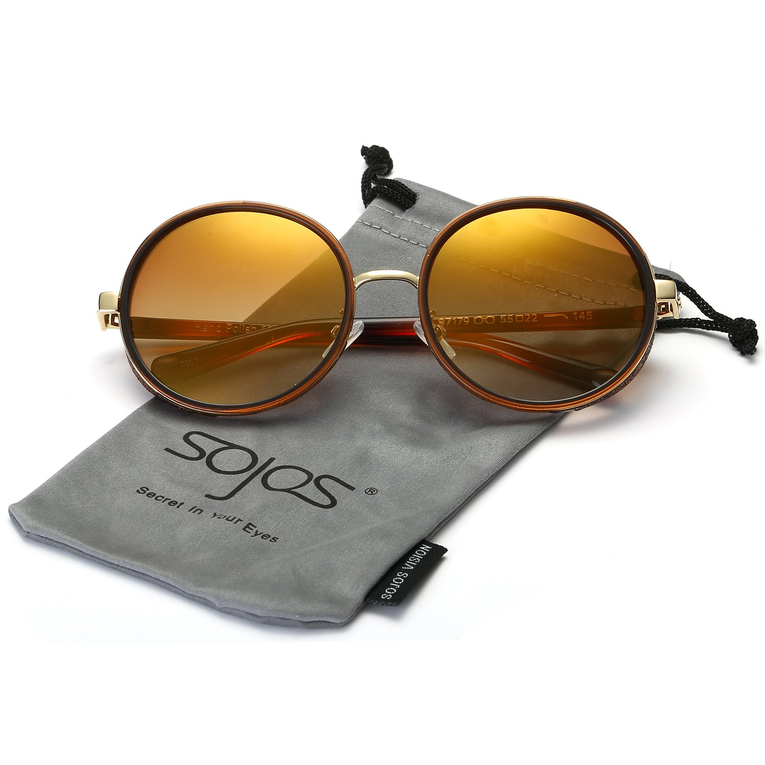 SojoS Retro Gothic Steampunk Round Mirrored Blingbling Classsic Women Sunglasses SJ2022 (C04 Brown Frame/Yellow Lens, 56) by SOJOS