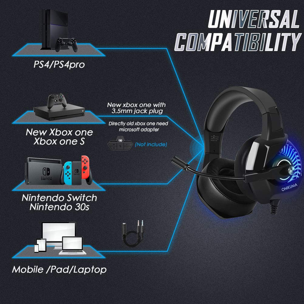 Cascos Gaming PS4/PC/Xbox One, ONIKUMA Auriculares Gaming Headset con Micrófono 3.5mm Jack para Nintendo Switch o Móvil, Auriculares de Diadema con ...