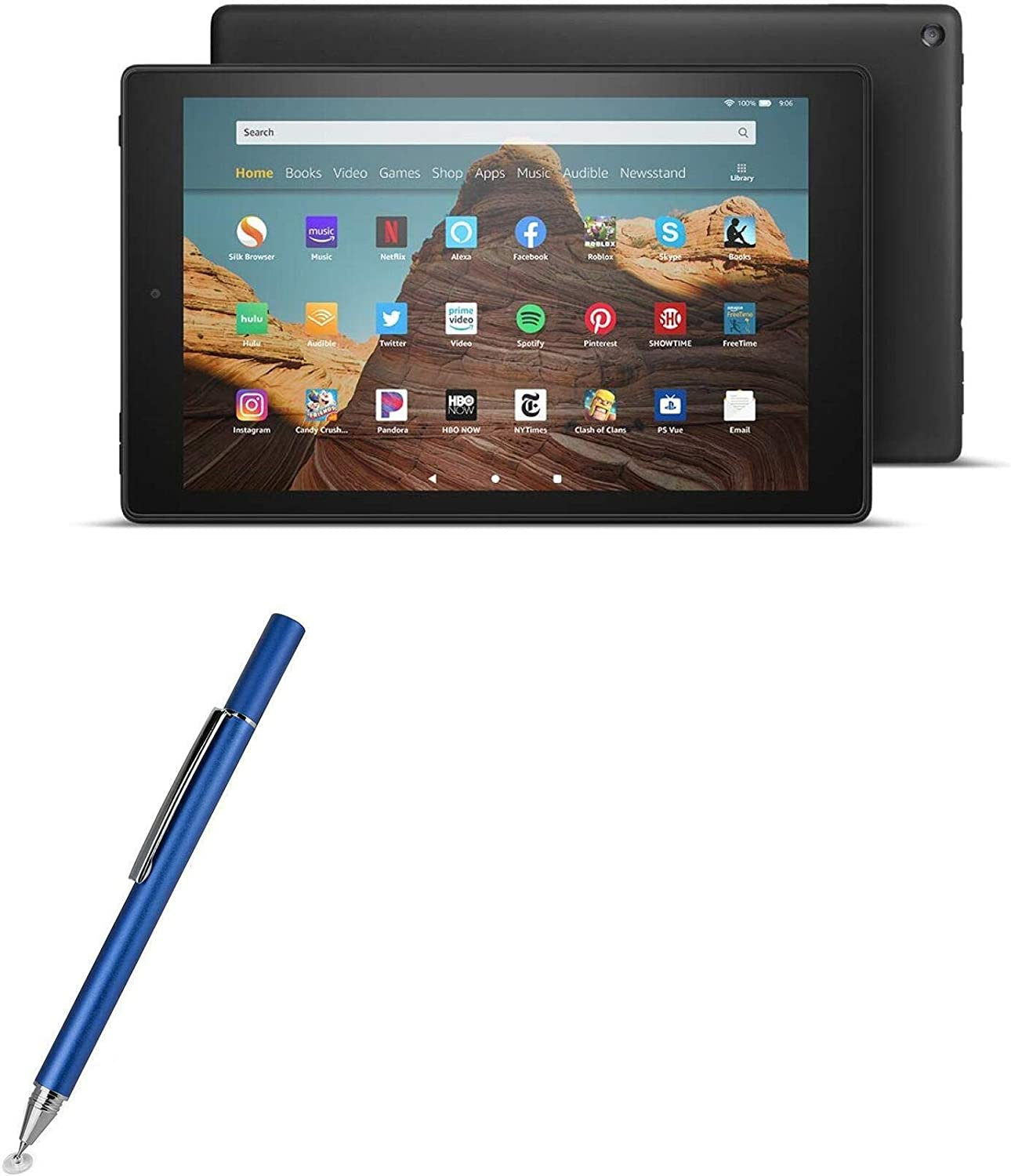 Amazon Fire HD 10 (2019) Stylus Pen, BoxWave [FineTouch Capacitive Stylus] Super Precise Stylus Pen for Amazon Fire HD 10 (2019) - Lunar Blue