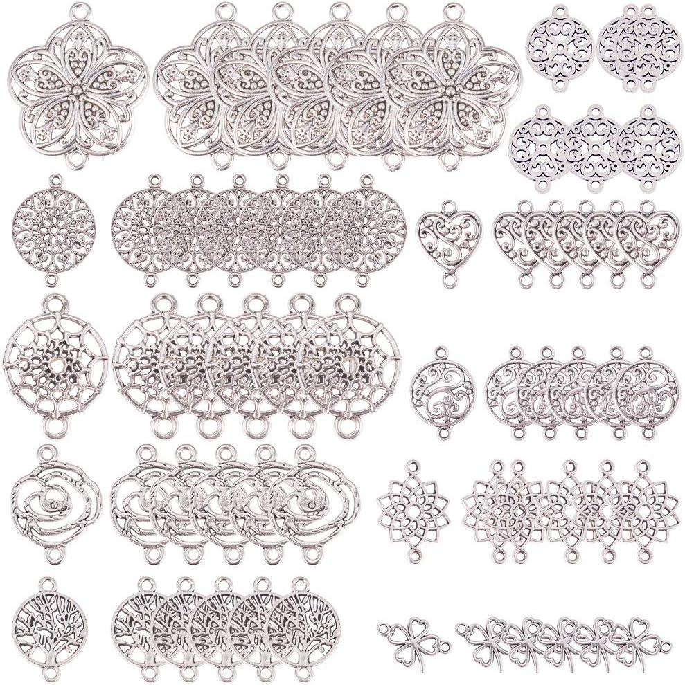 SUNNYCLUE 1 Caja 60 Piezas 10 Estilos Conectores de Flor de la Vida para Hacer Joyas Suministros de Artesanía Resultados de Joyería Accesorio Collar Pulsera, Plata Antigua